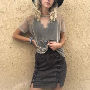 Urban outfitters Shimmery mesh tee